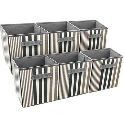 Sorbus Foldable Storage Cube Basket Bin, 6 Pack, Vertical Stripe Line (Folding Storage Cube)