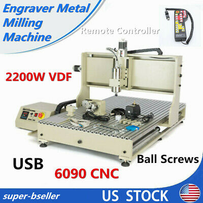 Usb 4axis 6090 Cnc Router Engraver Metal Milling Machine 2.2kwremote Controller