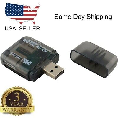 USB 2.0 Flash Memory Card Reader All-in-One SD/SDHC Micro-SD/TF MS-Duo M2, Black All In One Flash