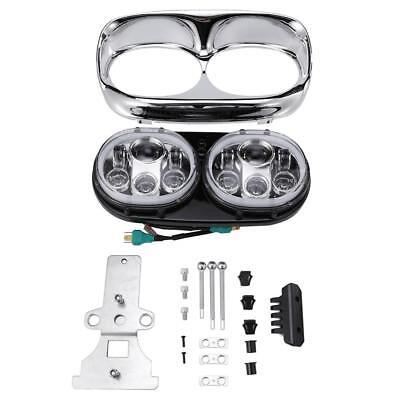Dual LED Headlight Daymaker Lamp w/ Angel Eye for Harley Road Glide 04-13 FLTR