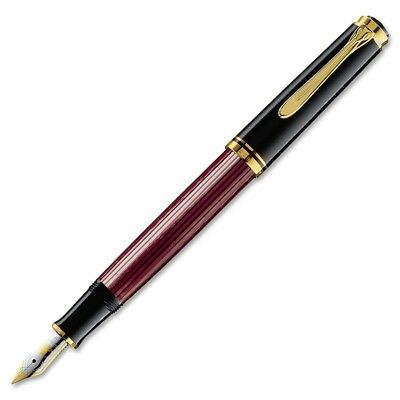 Pelikan Souveran M600 Fountain Pen - Black & Red Gold Trim - Broad Point -928663