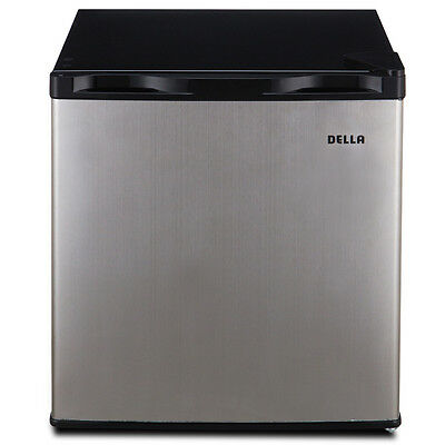 ثلاجة صغيرة جديد 1.6 Cu Ft Single Reversible Door Compact Refrigerator Freezer, Stainless Steel
