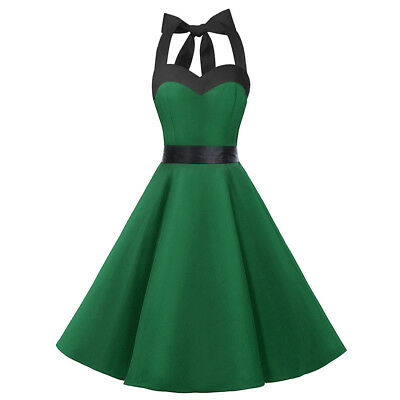 Women's 50s Vintage Rockabilly Halter Neck Dress Swing Party Cocktail Gown