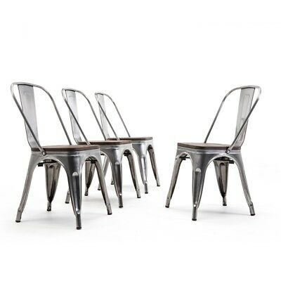 (Bistro Dining Chairs Stackable Modern Style Metal Set of 4 Wood Seat Gunmetal)