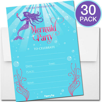 30 Mermaid Party Invitations with Envelopes - Kid Birthday Girl Pool - Mermaid Party Invitations