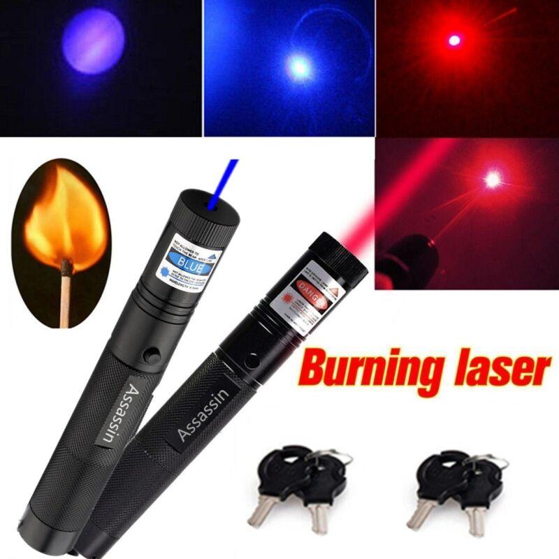 2PCS 900 Miles Red & Blue Purple Beam Light Laser Pointer Pen Focus/Zoom Lazer