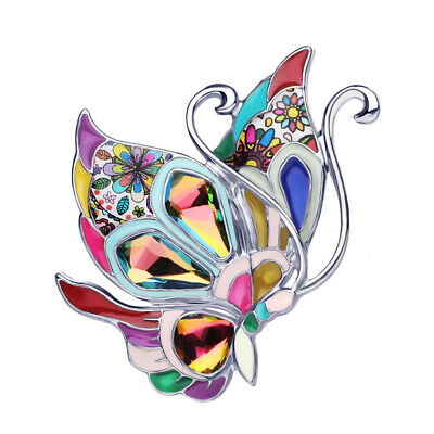 Enamel Alloy Crystal Butterfly Brooch Pin For Women Kid Scarf Jewelry Charm Gift