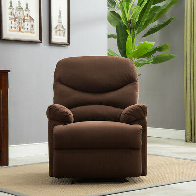 Recliner Chair Sofa Living Room Furniture Microfiber Reclining Padded Hindquarters Brown
