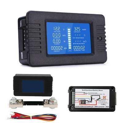 Hd Lcd Battery Monitor Meter Voltmeter Ammeter Voltage Tester 0-200v 100a Car Rv
