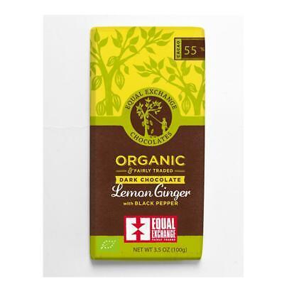 💚 3 x Equal Exchange Organic Lemon and Ginger Dark Chocolate Bar 100g Organic Chocolate Gingers