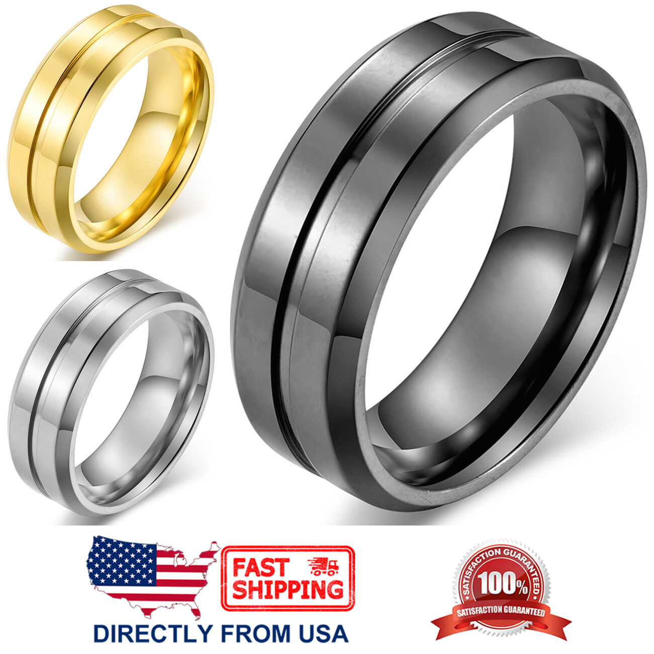 Men's Ring, Stainless Steel 8mm Polished Wedding Band (Silver, Gold, or Black) Jewelry & Watches