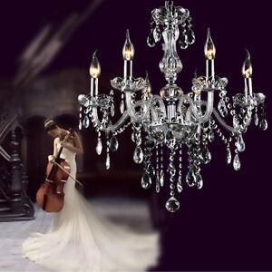 Elegant Crystal Chandelier Modern Ceiling Light 6 Lamp Pendant Lighting Fixture