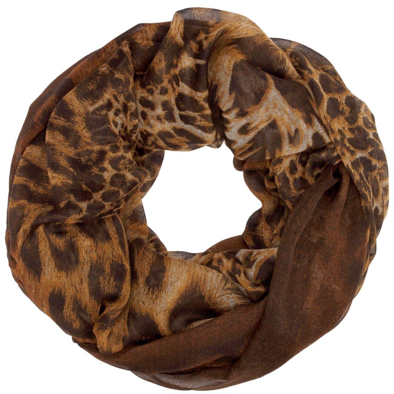 CASPAR SC315 Damen Loop Schlauchschal Rund Schal Leoparden Muster Print