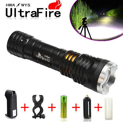 Tactical Police CREE XML 10000LM LED Zoomable Flashlight+18650 Battery+Charger