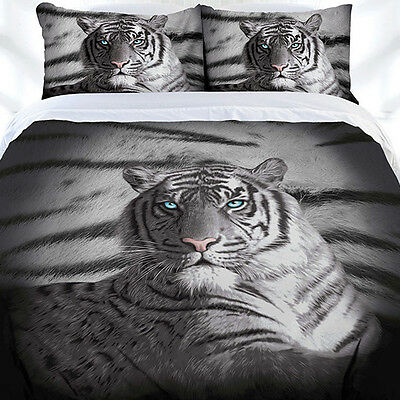 Blue Eyes Stripe White Tiger Duvet | Doona Quilt Cover Set | King ()