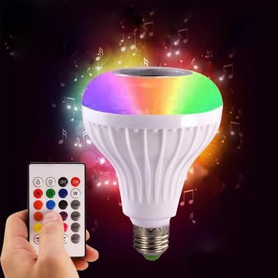 LED Wireless Bluetooth Bulb Light Speaker 12W RGB Smart Music Play Lamp+Remote