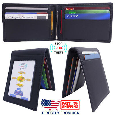 Men's Full Grain Leather RFID Blocking ID Window Money Clip Slim Bifold (Full Leather Wallet)
