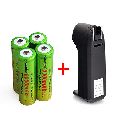 4X SKYWOLFEYE 5000mAh Li-ion 3.7V Rechargeable 18650 Battery + Charger From USA