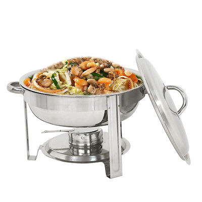 Round Chafing Dish Stainless Steel Full Size Tray Buffet Catering New  5 Quart Business & Industrial