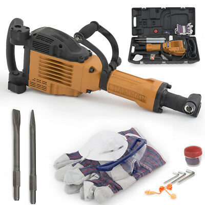 3600w Electric Demolition Jack Hammer Concrete Breaker Punch 2 Chisel Bit Wcase