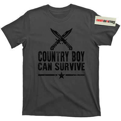 Hank Williams Jr Country Boy Can Survive hunting fishing outdoors tee T Shirt - Country Boy T-shirt