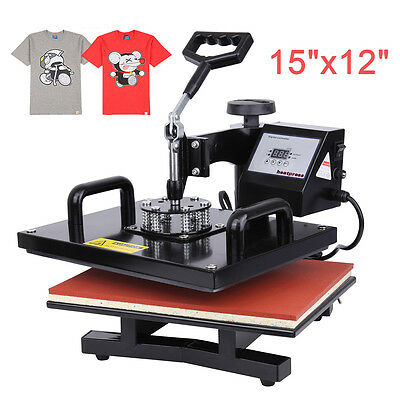 15x12 Digital Heat Press Photo T-shirt Transfer Machine 0-999s Time Control