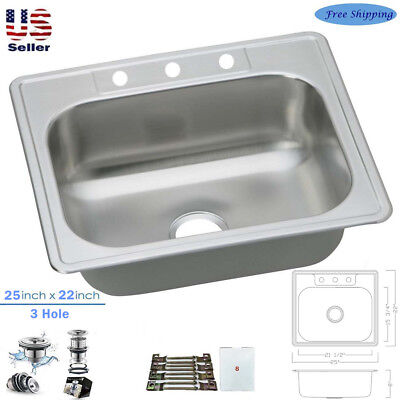 Drop In Single Bowl - Stainless Steel Deep Top Mount Drop in Single Bowl Bar /Prep Kitchen Sink 22