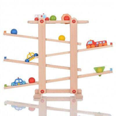 LCP Kids Holz Kugelbahn CARS Spielzeug Auto und Kugeln Kleinstkinder ab 1. Jahr