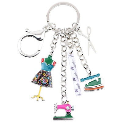 Enamel Alloy Sewing machine Tools Scissor Flatiron Key Ring For Women Bag Charm - Enamel Key Ring