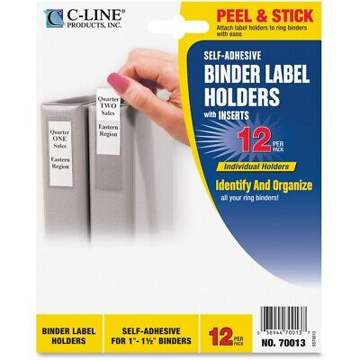 C-line Self-adhesive Ring Binder Label Holders Top Load 34 X 2-12 Clear 12