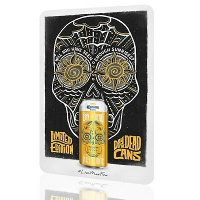 WALL SIGN Day of the Dead CORONA BEER Yellow Version Poster RUSTED BAR DECOR