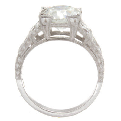 3.50ct GIA Certified Old European Platinum Antique Diamond Engagement Ring 3