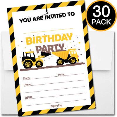 30 Construction Dump Trucks Birthday Invitations with Envelopes - Kid Party Boy