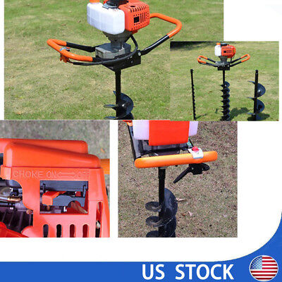 "2.4ps 52cc Power Engine Gas Powered Post Hole Digger+4""/6""/8"" Auger Drill Bit"