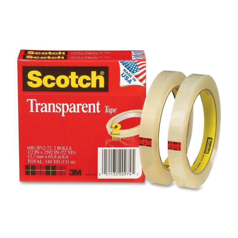 Scotch Transparent Tape, Narrow Width, Engineered for Office and Home Use,