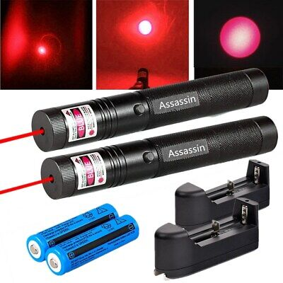 2 Pack Bright Red Laser Pointer Pen Focuszoom Light Lazerbatterycharger 1 Mw