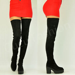 Womens-Ladies-Over-The-Knee-Thigh-High-Chunky-Platform-Heel-Stretch-Boots-Size