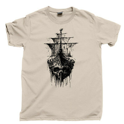 Pirate Ghost Ship T Shirt Jolly Roger Skull Crossbones Scallywag Blackbeard Tee