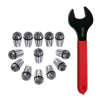 Er16 65mn 12pcs Spring Collet Set Er16a Wrench For Cnc Milling Lathe Tool