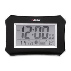 Lorell Wall/Alarm Clock LCD 10-1/4Wx7Hx1-1/2D Lunar Slvr/Blk 60998