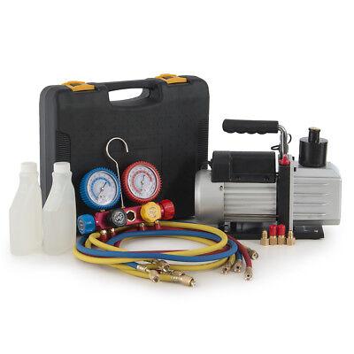 4-way 4-valve Manifold Gauge 4hose Professional Achvac 5cfm Vacuum Pump 12hp