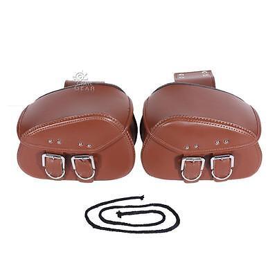 Brown PU Leather Motorcycle Tool Bag Luggage Saddlebag Bobber Chopper Universal
