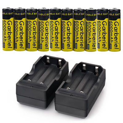 10PCS GARBERIEL 3.7V 18650 Battery Li-ion 6000mAh Rechargeable Battery+2XCharger