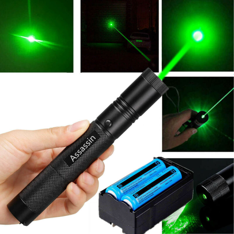 900Miles 532nm Green Laser Pointer Pen Beam 18650 Battery Dual Charger US Stock