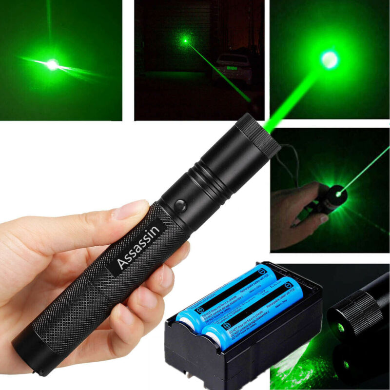990Miles 532nm Green Laser Pointer Lazer Pen Beam 18650 Battery Dual Charger 1MW