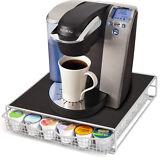 36 K Cup Holder Rack Storage for Keurig Coffee Pod Chrome Drawer Organizer & Mat