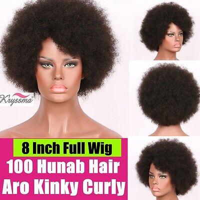 "8"" Short Bob Wig Afro Kinky Curly Brazilian Remy Human Hair Wigs for Black Women"