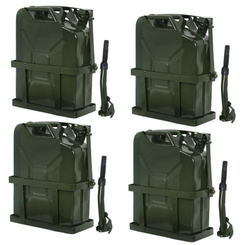 4x Jerry Can Fuel Tank w/ Holder Steel 5Gallon 20L Army Backup Military Green Business & Industrial