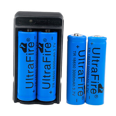 4PC UltraFire 3000mAh Powerful 18650 Battery 3.7v Li-ion Battery + 1PC Charger