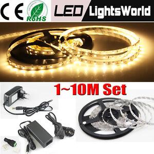 1-10M LED Strip Set 3528 SMD 60 LEDs/m Band Leiste Streifen+Trafo Netzteil DC12V